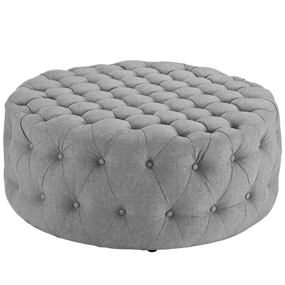 Amour Upholstered Fabric Ottoman Light Gray - Modway