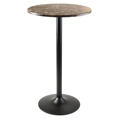 Genial Cora Round Bar High Table Faux Marble Top Metal/Black   Winsome