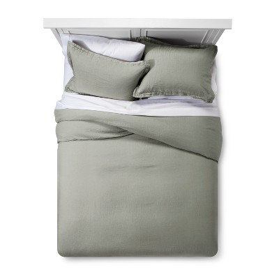 Cashmere Gray Lightweight Linen Duvet Cover Set (King)- Fieldcrest®