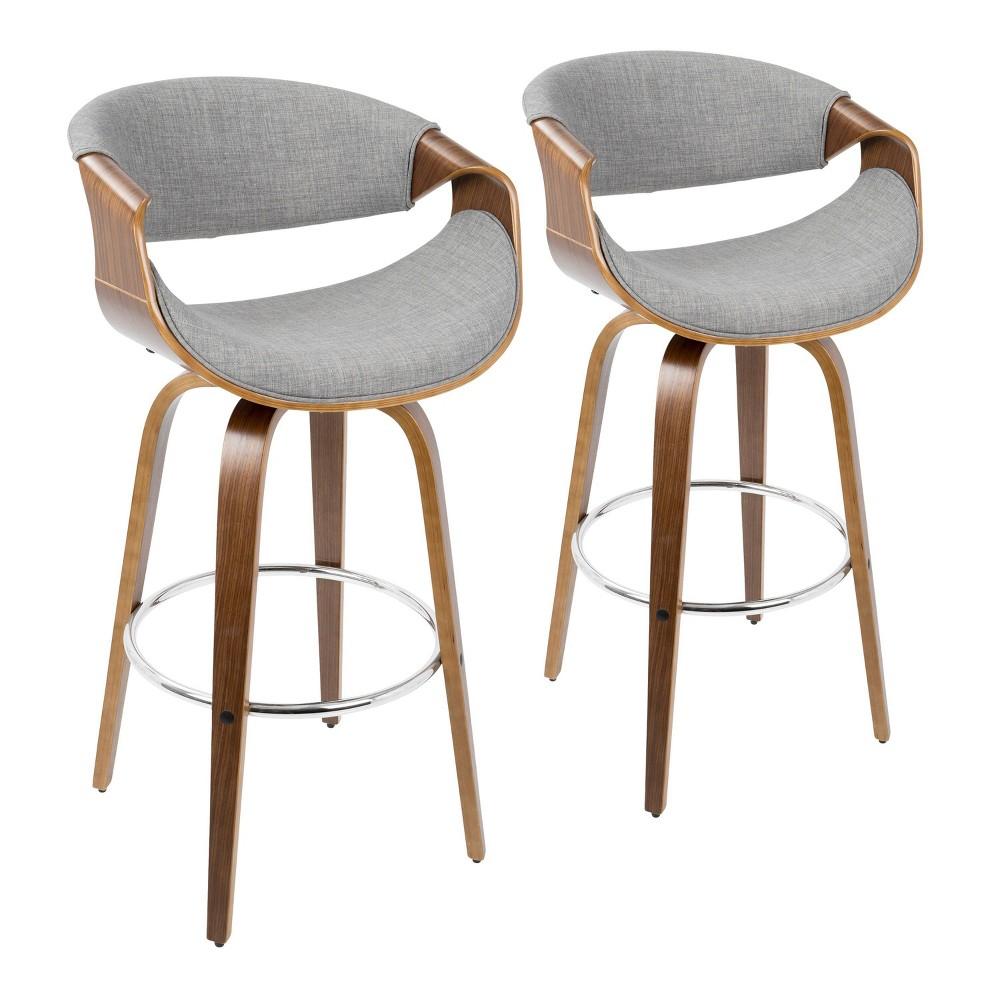 Set Of 2 Curvini Mid Century Modern Bar Height Barstools Walnut Gray Lumisource