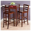 3 Piece Halo Set Pub Table with Ladder Back Bar Stools Wood/Walnut - Winsome - image 3 of 3