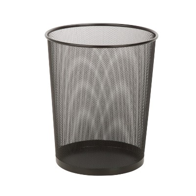Honey-Can-Do Mesh Metal Trash Can Black