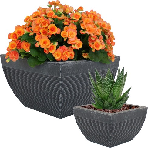 "2-Pc 8"" and 14"" Residency Fiber Clay Planter Set - Sunnydaze Decor - image 1 of 4"