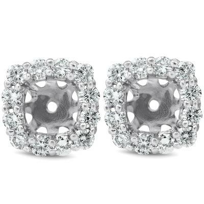 Pompeii3 3/4 Ct Diamond Stud Earring Cushion Halo Jackets 14k White Gold (5-5.5mm)