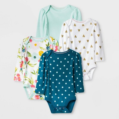 Baby Girls' 4pk Floral Fields Long Sleeve Bodysuit - Cloud Island™ Green/White Newborn