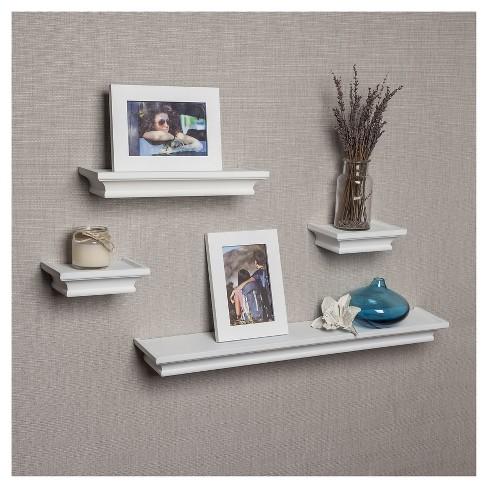 Set Of 4 Cornice Ledge Shelves With Photo Frames White Target