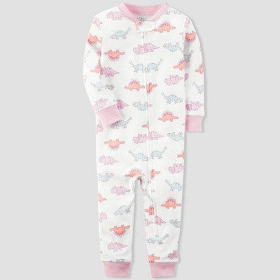 Baby Girls' 1pc Dino Sleep Coverall - little planet™ organic by carter's® Pink 12M