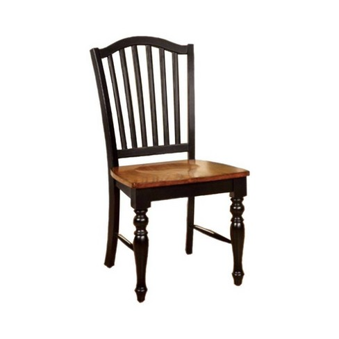 Set of 2 Cottage Side Chairs with Wooden Seat Black/Oak - Benzara - image 1 of 4
