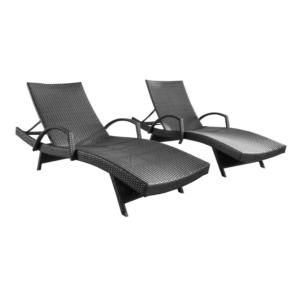 Salem Set of 2 Wicker Adjustable Chaise Lounge with Arms - Gray - Christopher Knight Home