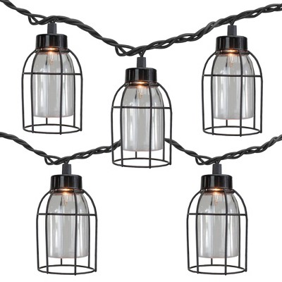 Northlight 10 Count Vintage Style Edison Cage Novelty String Lights, 6.5 ft Black Wire