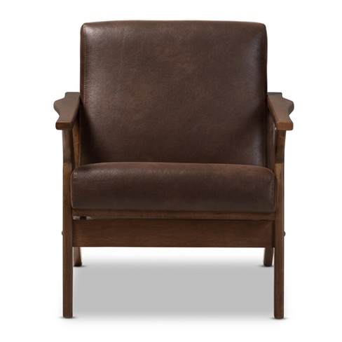 Bianca Mid Century Modern Walnut Wood Distressed Faux Leather Lounge