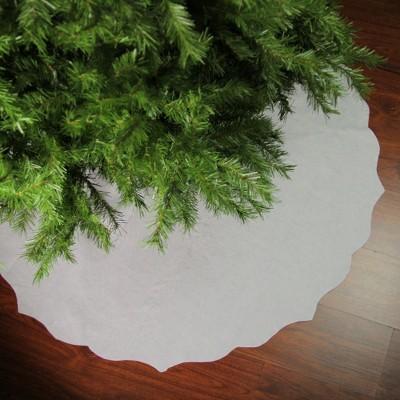 """Northlight 48"""" White Scalloped Edge Christmas Tree Skirt"""