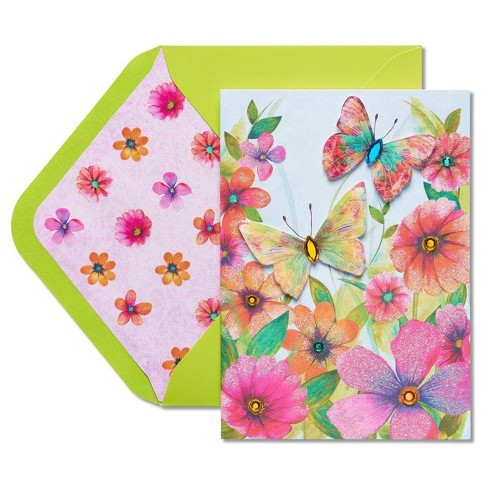 Papyrus Watercolor Butterflies Mother's Day Card with Rhinestones - image 1 of 4