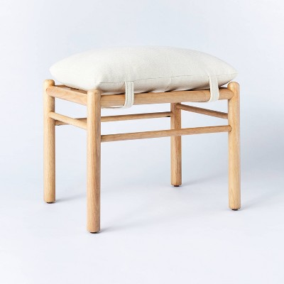 Wooden Upholstered Ottoman with Straps - Threshold designed with Studio McGee