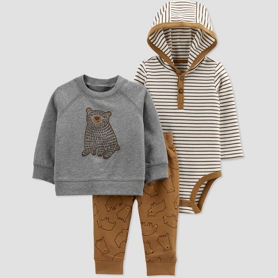 Baby Boys' Bear Pullover Top & Bottom Set - Just One You® made by carter's Brown 3M