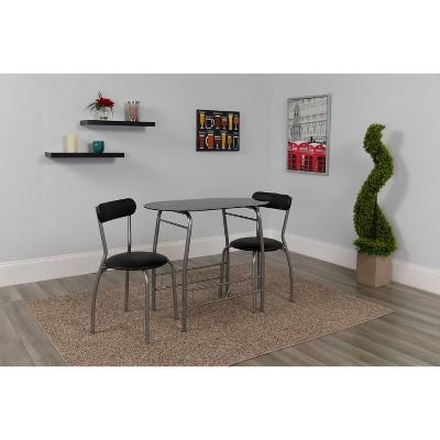 Sutton 3pc Glass Bistro Black - Riverstone Furniture