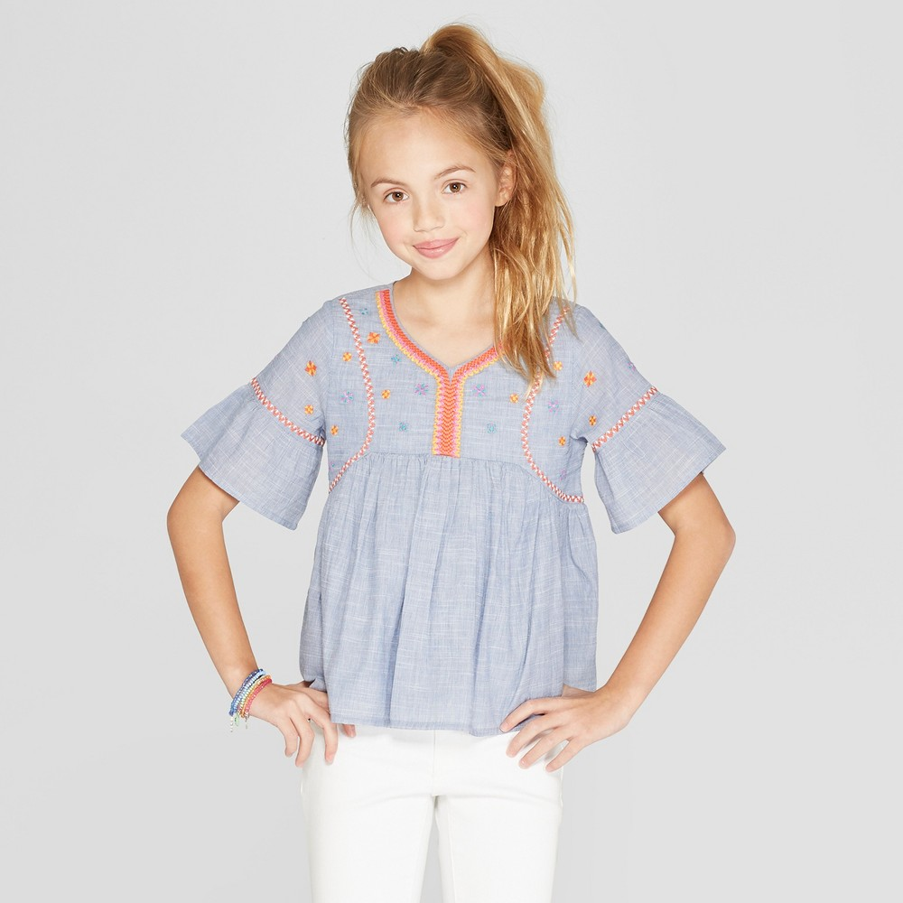 Girls' Woven Embroidered Top - Cat & Jack Blue XS