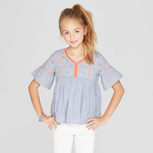 Girls' Woven Embroidered Top - Cat & Jack™ Blue - image 1 of 3