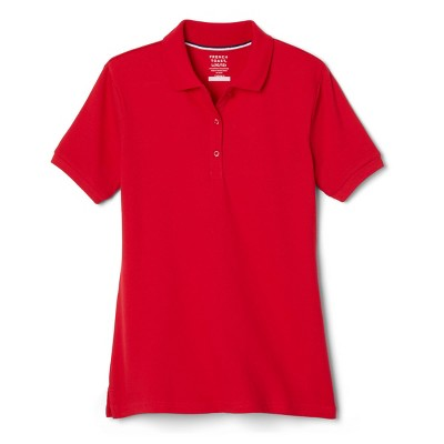 French Toast Young Womans' Uniform Short Sleeve Pique Polo Shirt - Red