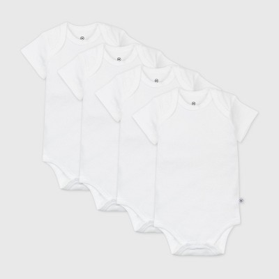 Honest Baby Baby 4pk Organic Cotton Short Sleeve Bodysuit - White 0-3M