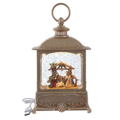 "Kurt Adler 8.75"" Battery-Operated LED Swirl Nativity Scene in Water Lantern"