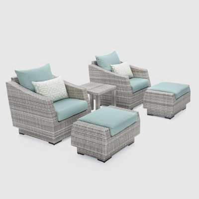 Cannes 5pc Club Chair & Ottoman Seating Set Spa Blue - RST Brands