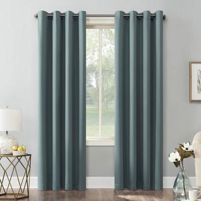 "84""x40"" Kenneth Energy Saving Blackout Grommet Top Curtain Panel Window Teal - Sun Zero"