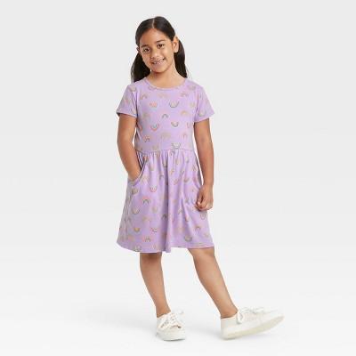 Girls' Printed Jersey Short Sleeve Knit Dress - Cat & Jack™