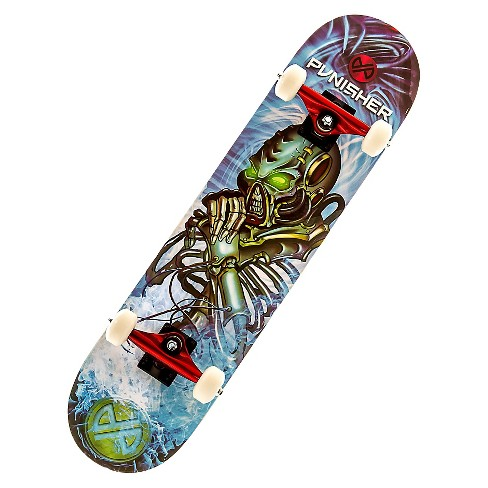 """Punisher Skateboards Alien Rage 31.5"""" Blue and Green Skateboard - image 1 of 4"""