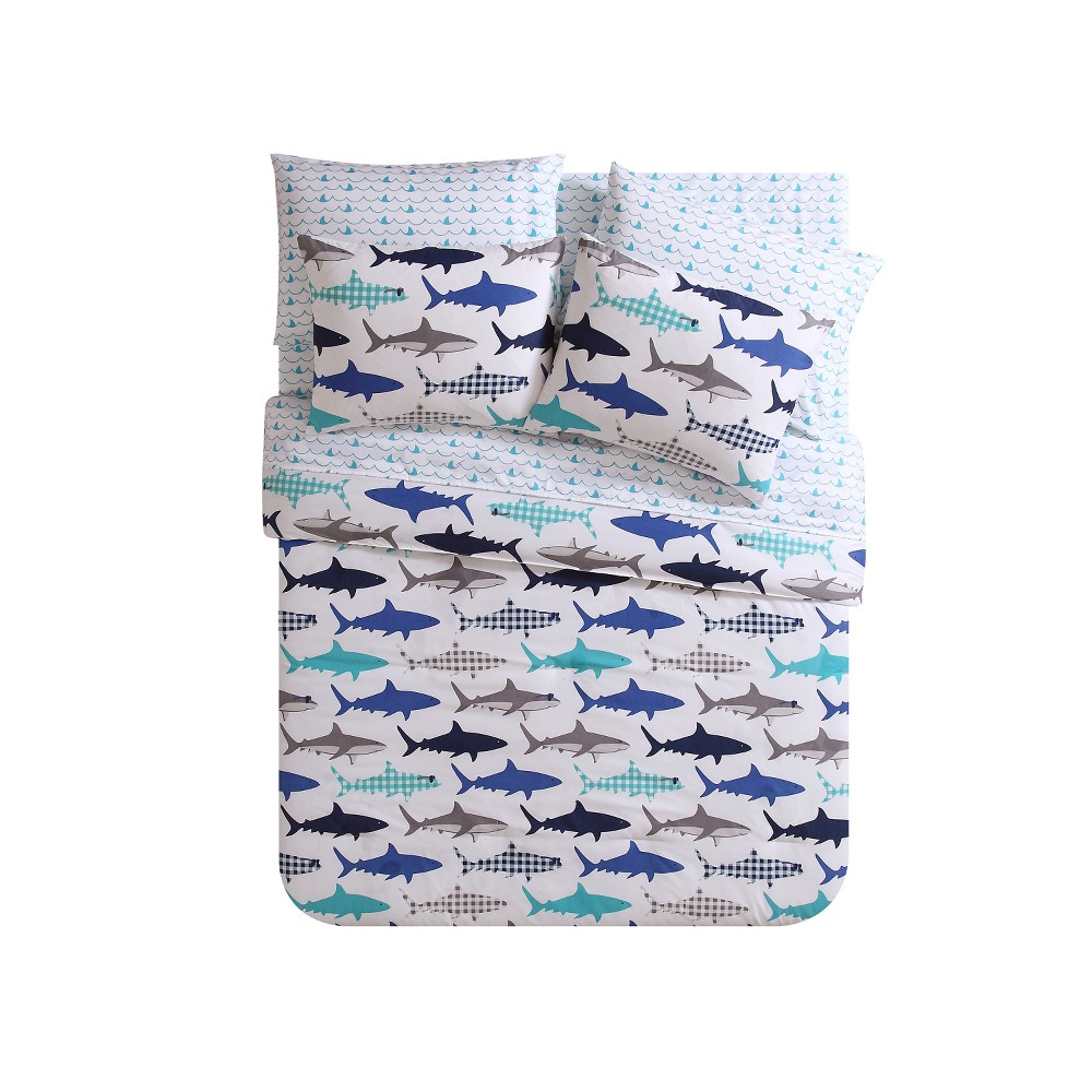 Finn Shark Bed In A Bag Blue Comforter (Twin) - Vcny Home