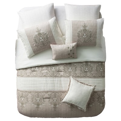 Taupe Grace Embroidered Medallion Reversible Comforter Set (King)7 Piece - VCNY®