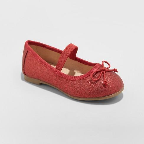96bdaae9cf4 Toddler Girls  Ani Glitter Ballet Flats - Cat   Jack™ Red   Target