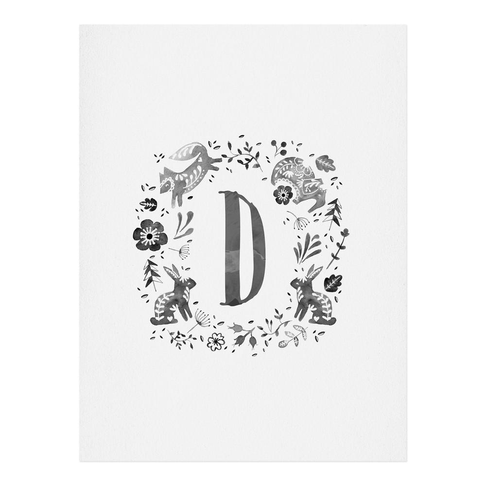 "Image of ""11""""x14"""" Wonder Forest Folky Forest Monogram Letter """"D"""" Art Print Unframed Wall Poster Gray - Deny Designs"""