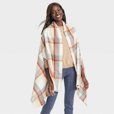 Women's Plaid Wrap Jacket - A New Day™ Cream One Size