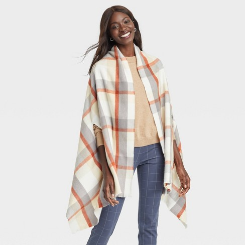 Women's Plaid Wrap Jacket - A New Day™ Cream One Size - image 1 of 3