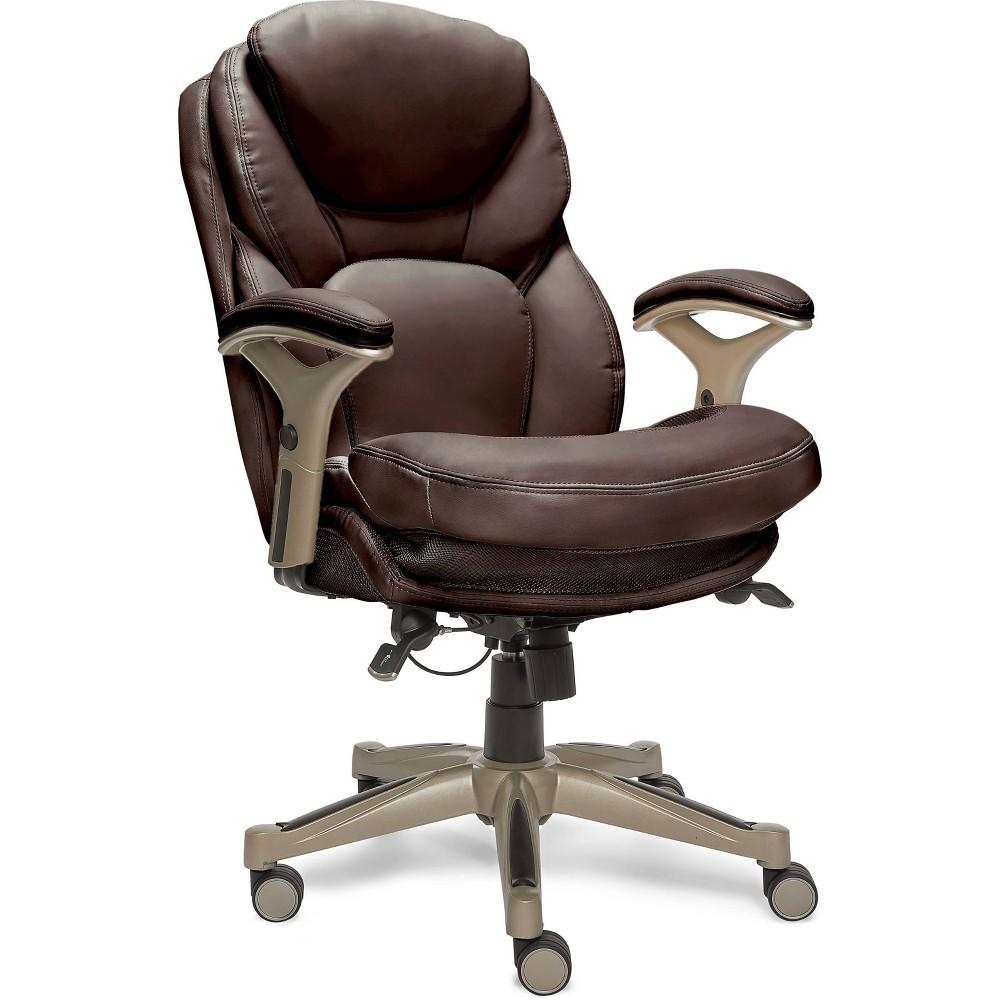 Image of Office Chair with Back In Motion Technology Dark Chestnut - Serta, Dark Brown