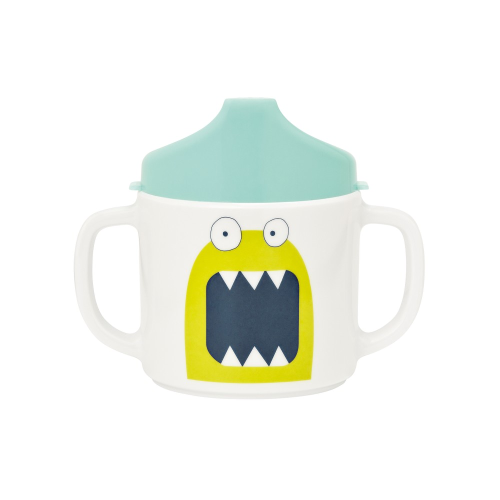 Lassig Little Monsters Bouncing Bob 2-Handle Cup with Lid - Blue