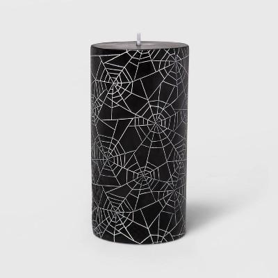 "3""x6"" Black/White Spider Web Halloween Pillar Candle - Hyde & EEK! Boutique™"