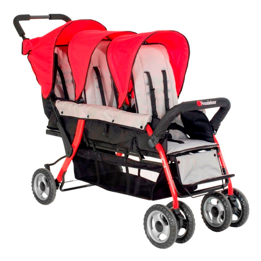 Image of Foundations Trio Sport 3 Passenger Stroller - Red