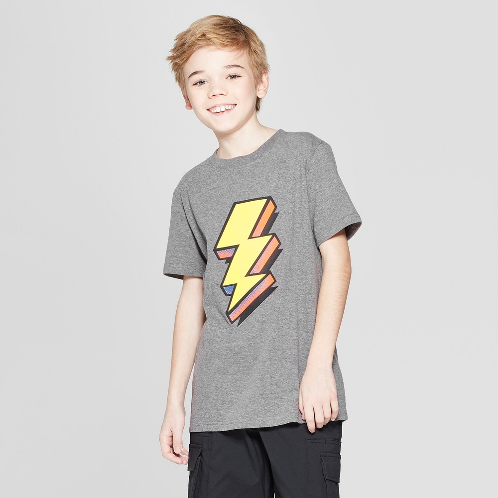 Boys' Lightning Bolt Short Sleeve Graphic T-Shirt - Cat & Jack Gray Xxl