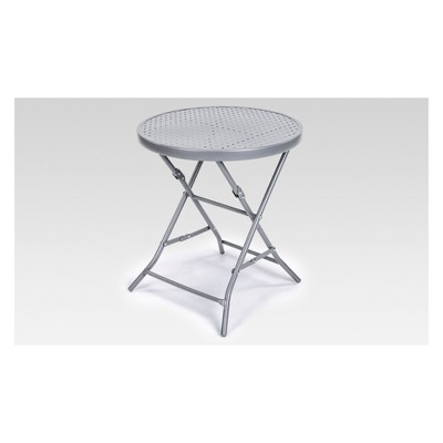 Metal Punch Folding Round Patio Accent Table - Silver - Project 62™