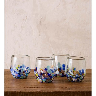 VivaTerra Riviera Recycled Stemless Wine Glass, Set of 4