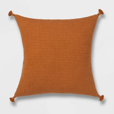 Euro Soft Texture Tasseled Throw Pillow Apricot - Project 62™