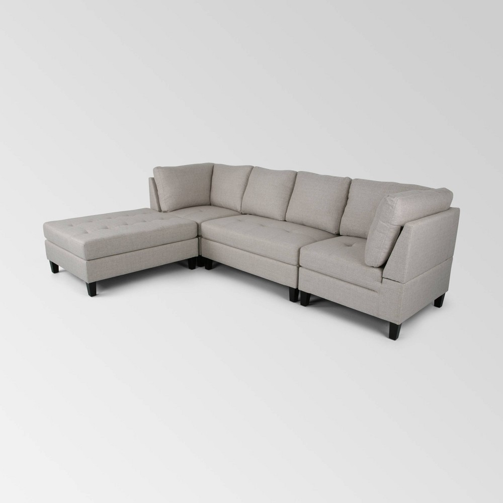 4pc Beckett Contemporary Sectional and Ottoman Set Beige - Christopher Knight Home was $1299.99 now $844.99 (35.0% off)