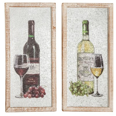 Set of 2 Vintage Wine Bottle with Washed Wood Frame White - Olivia & May