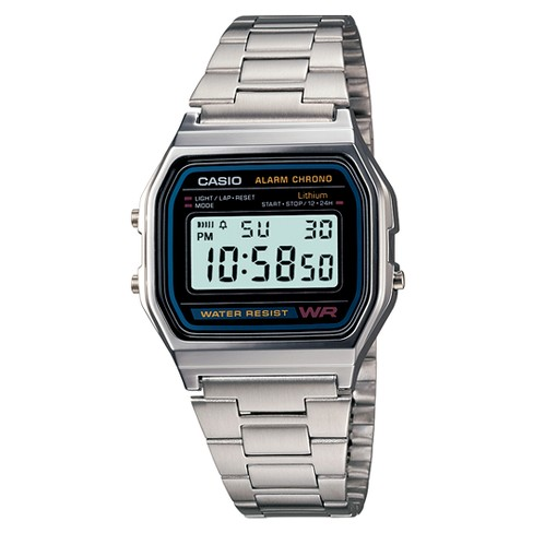 f33101ec9c89 Men s Casio Digital Bracelet Watch - Silver (A158W-1)   Target