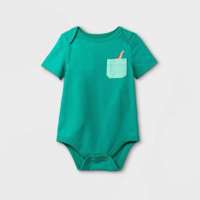 Baby Boys' Dino Pocket Short Sleeve Bodysuit - Cat & Jack™ Mint 18M