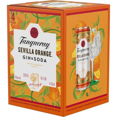 Tanqueray Sevilla Orange Gin & Soda Cocktail - 4pk/355ml Cans