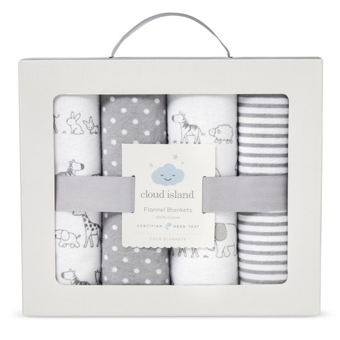 Flannel Baby Blankets Two By Two 4pk - Cloud Island™ Gray   Target 363964fa6