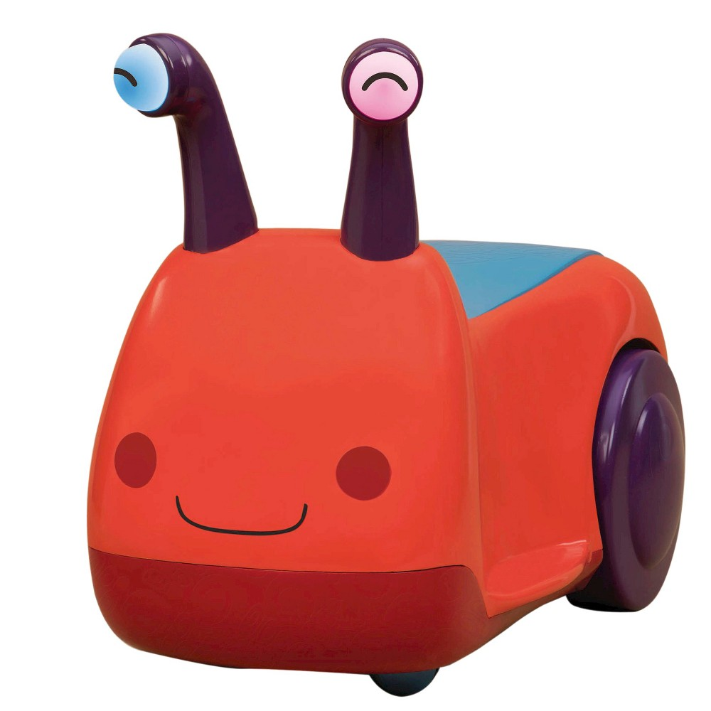 B. toys Buggly Wuggly, Pedal and Push Riding Toys Your little mover will love going for rides on the Buggly Wuggly from B. toys. This adorable little bug vehicle makes little squeaks and noises as your little one rides along. You can push your little one along smooth surfaces throughout your home or watch as they giggle and scooch along. Gender: Unisex.